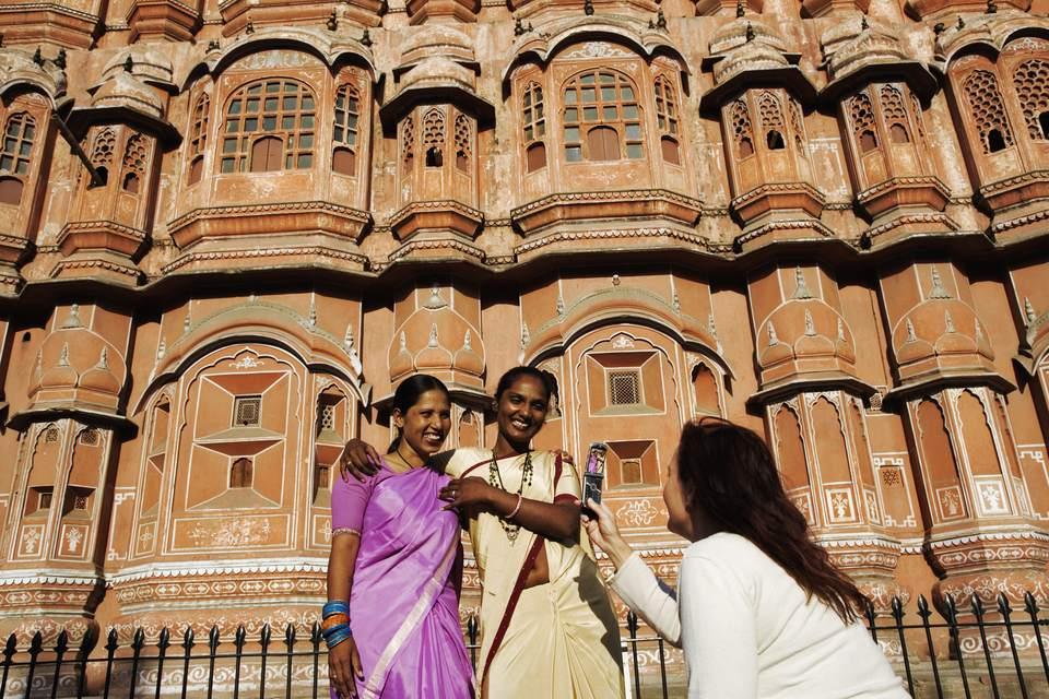 Tourist Taking Photograph Outside Hawa Mahal, Jaipur.