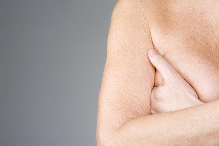 Bare Chest, Hand over breast. Breastfeeding and Skin Conditions of the Breasts and Nipples