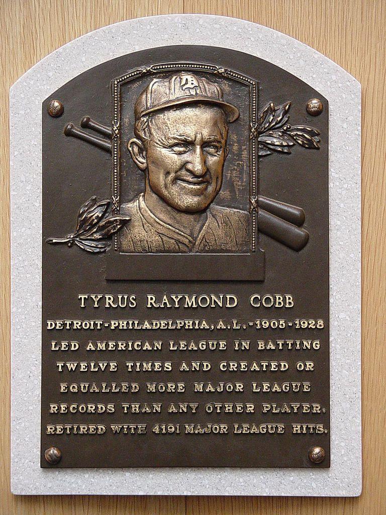 Placa de Ty Cobb en el Salón de la Fama