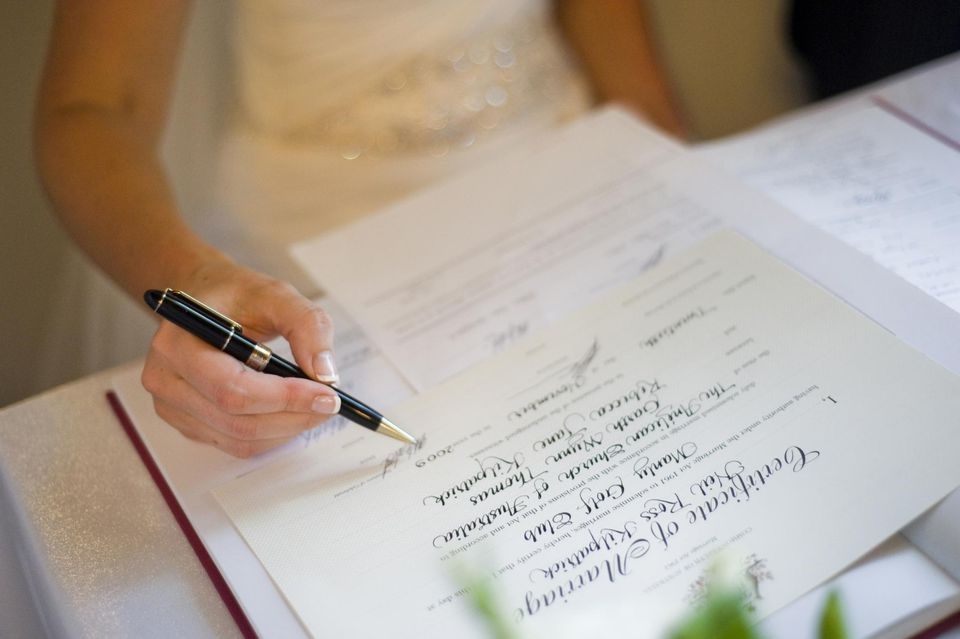 A marriage certificate is needed to change your name