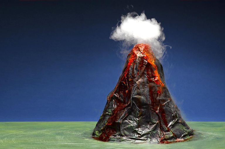 Making smoke puff out of a model volcano is as simple as adding a chunk of dry ice.