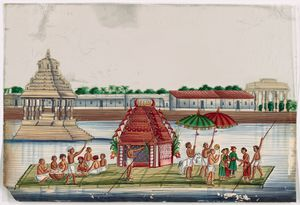 """River festival procession of floating green barge with red temple, polers, musicians, aristocrats, attendants, and white temple in background"""