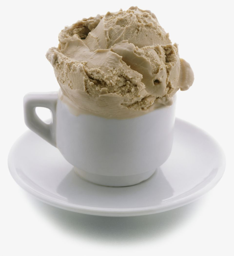 Scoop of coffee ice cream in espresso cup