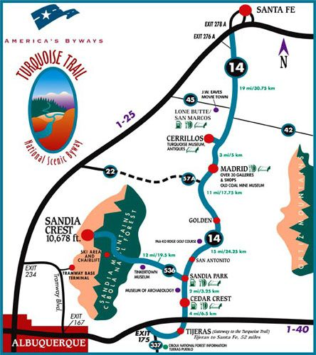 Map of the Turquoise Trail