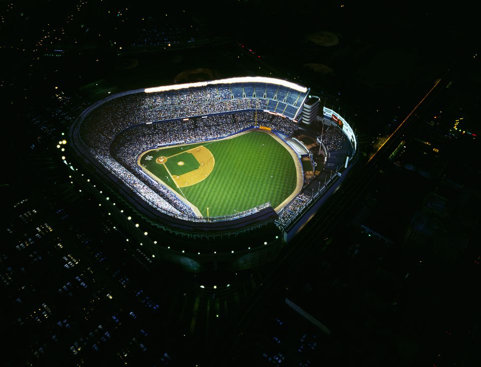 Aerial of Yankee Stadium illuminated at night