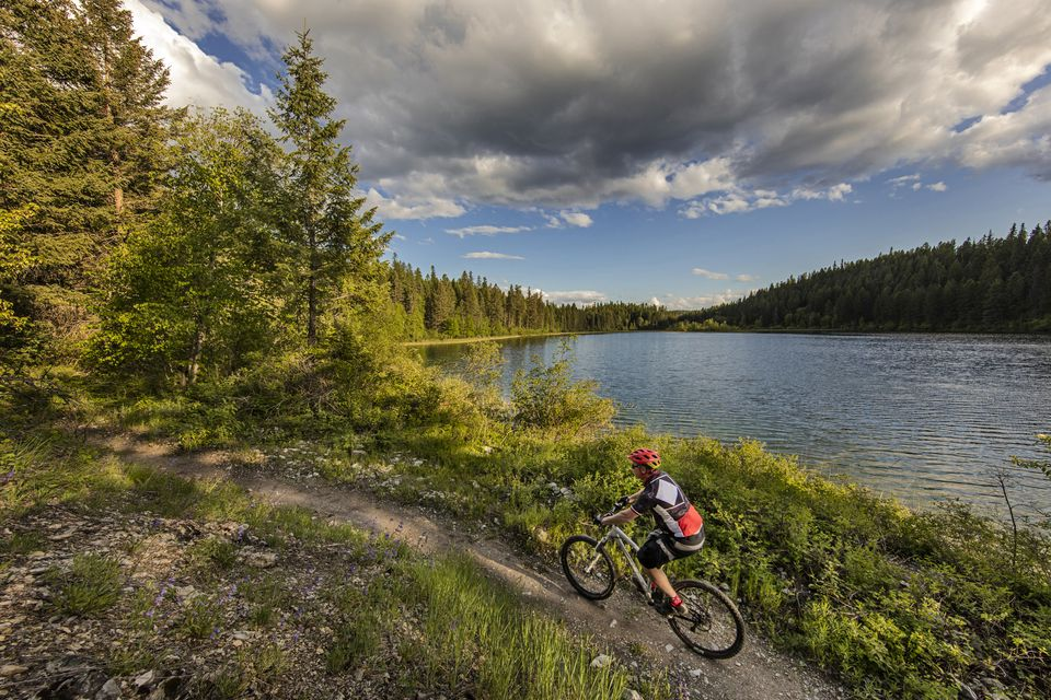 Mountain biking along Little Beaver Lake on Whitefish Trail, Whitefish, Montana, USA