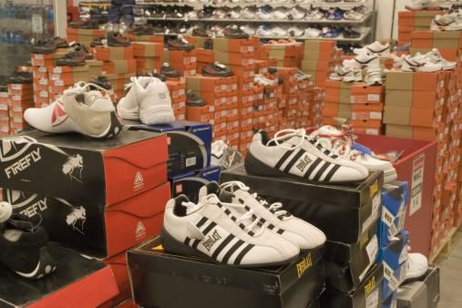 Sport shoes shop. Outlet, clearance sale.
