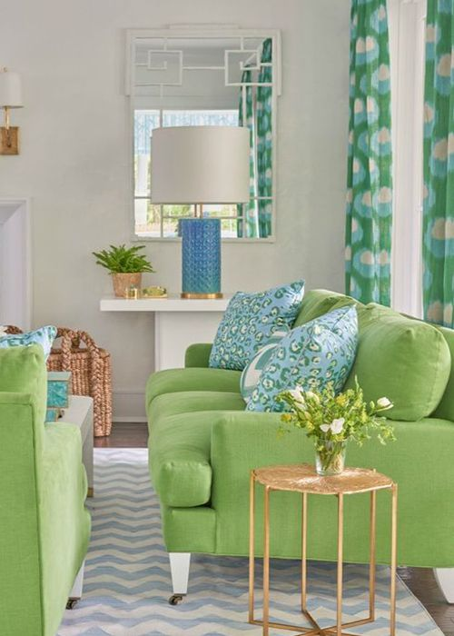 Living room in Pantone Greenery shades