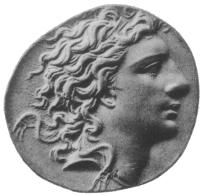 """Photo of Mithridates, from an 1889 edition of """"Coins of the Ancients"""", plate #60."""