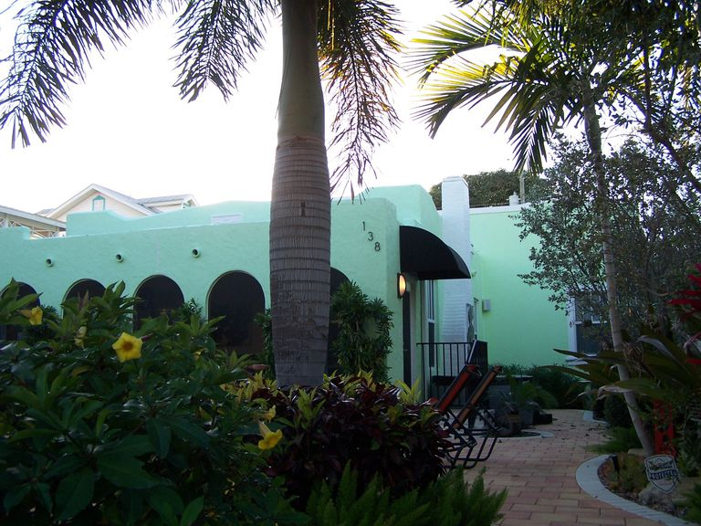 Tropical electric Kool-Aid green house in Delray Beach, Florida