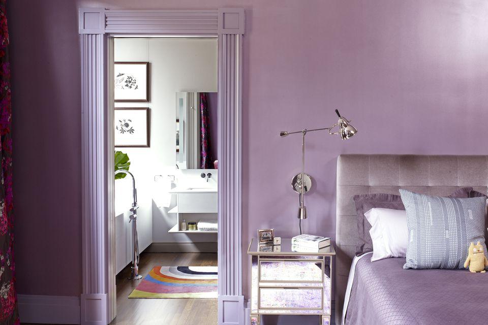 violet walls in master bedroom