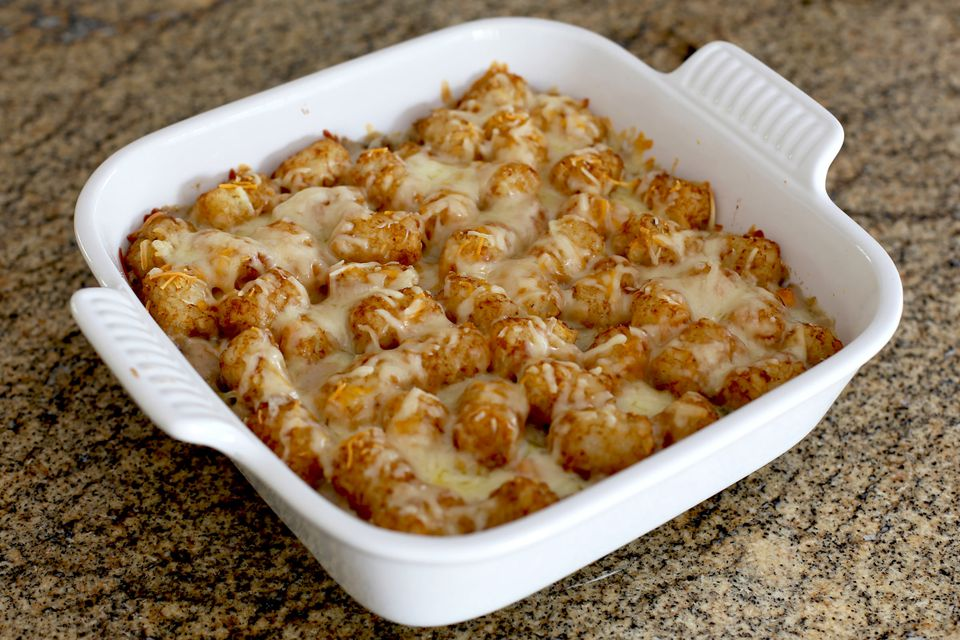 Tater Tot Casserole with Ground Beef and Cheese