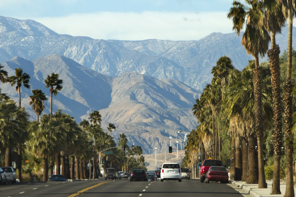 View along highway to mountains, Palm Springs, California