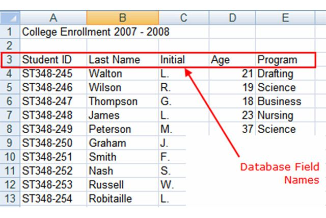 how to use excel as a database