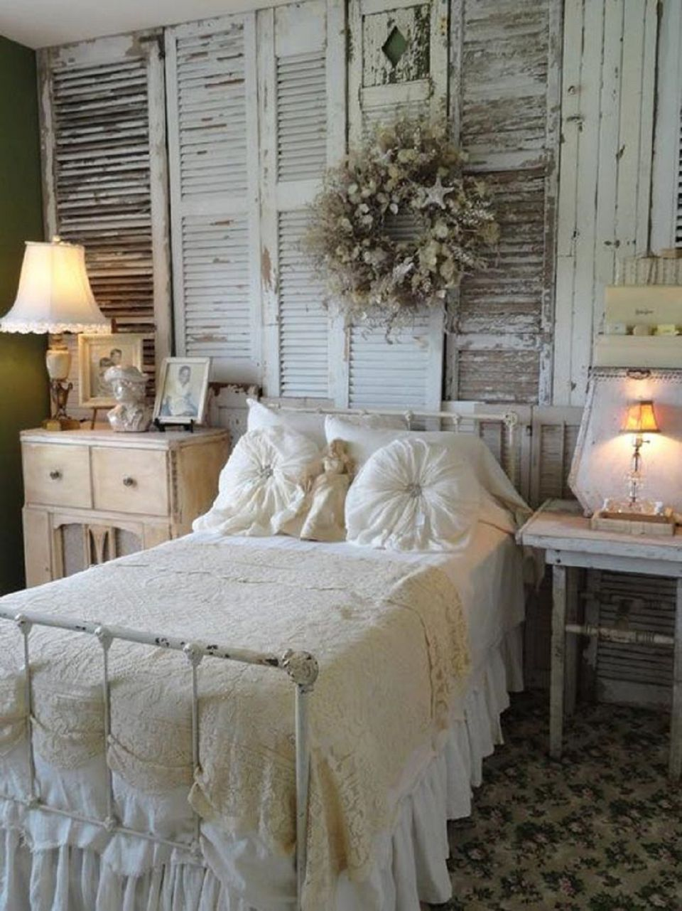 DIY Vintage Bedroom Ideas  Cover a wall with vintage shutters. Vintage Bedroom Decorating Ideas and Photos