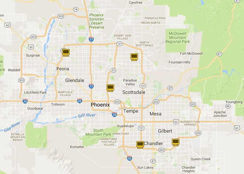 Map of Apple Stores in Greater Phoenix AZ