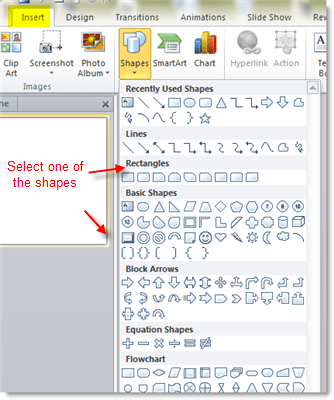 Select one of the many PowerPoint shapes
