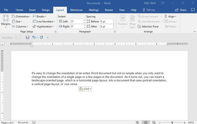 word document cover page