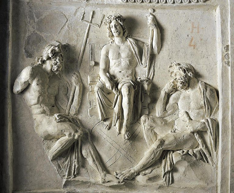 Zeus with Poseidon and Hercules, relief from columbarium unearthed in Vigna Moroni, Italy, Roman civilization, 1st century BC