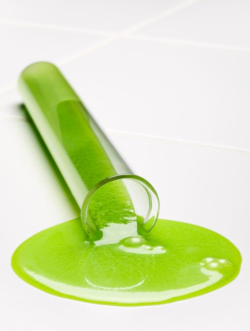 Chemical spills look especially bad when the liquid in the tube is green, don't you think?