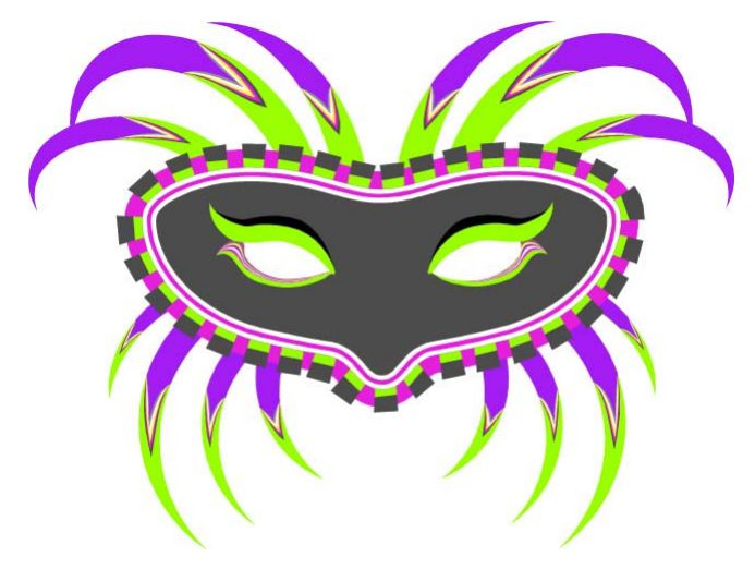 11 free printable masquerade and mardi gras masks a printable mardi gras mask in gray purple yellow green and pink pronofoot35fo Images