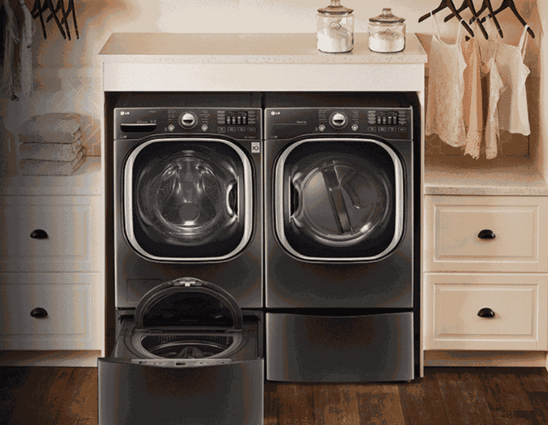 Laundry room with a smart washer and dryer