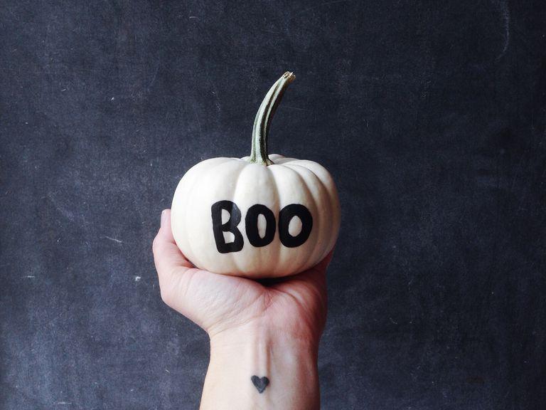 """Pumpkin that says """"boo"""""""