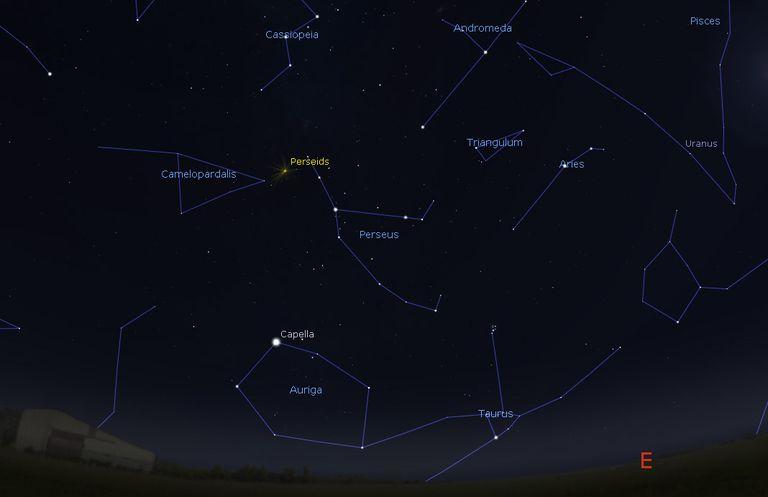 Perseid meteor shower map