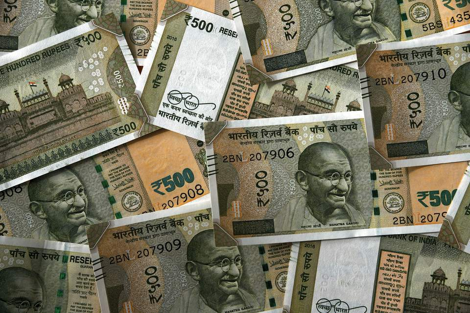 New Indian currency 500 rupees notes.