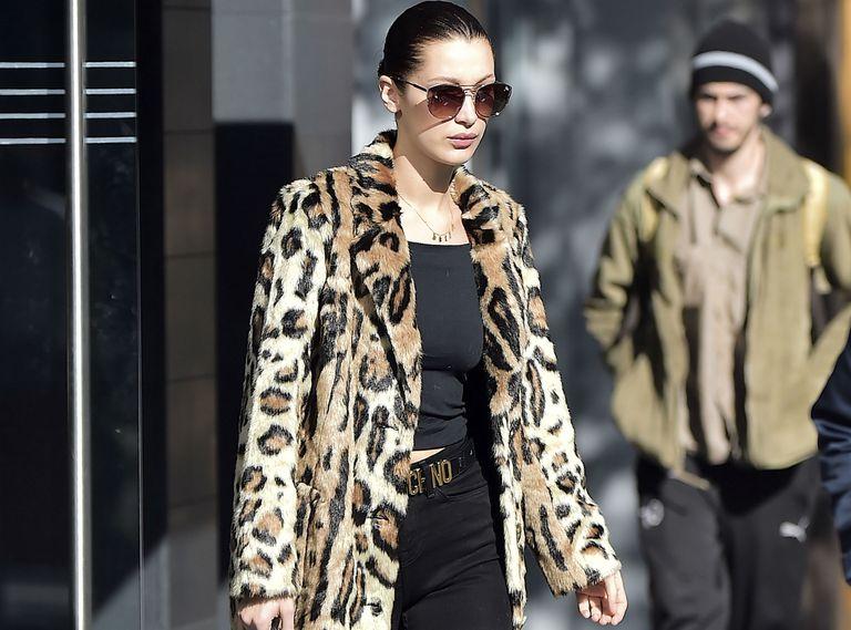 Bella Hadid leopard print coat