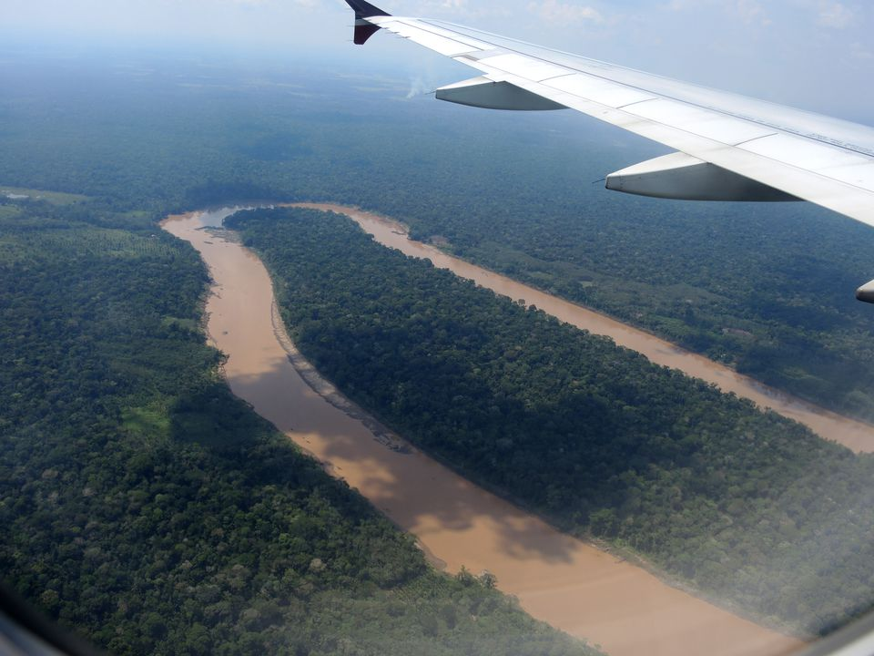 An aerial view of the Amazon River in Peru