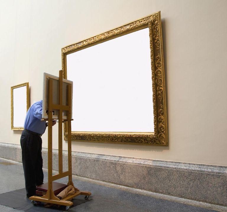 Man copying blank frame.