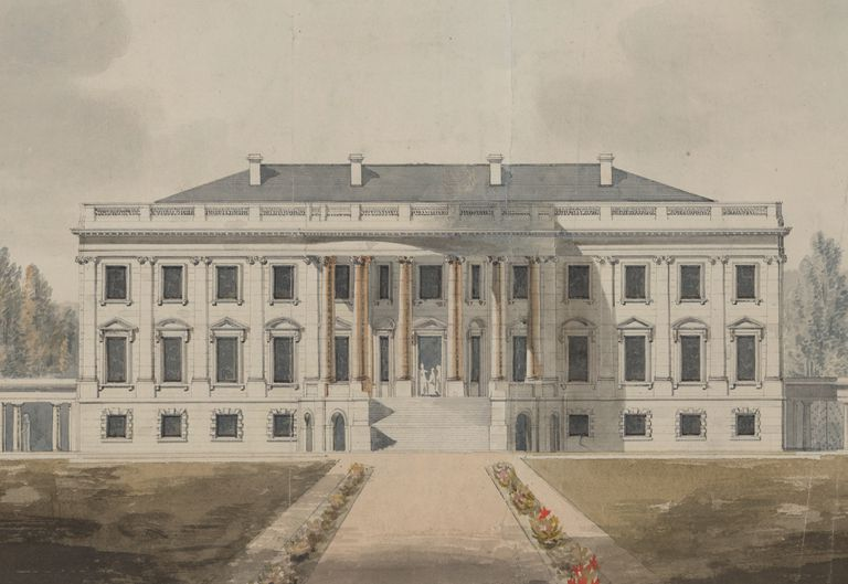 Drawing of the White House in the early 1800s