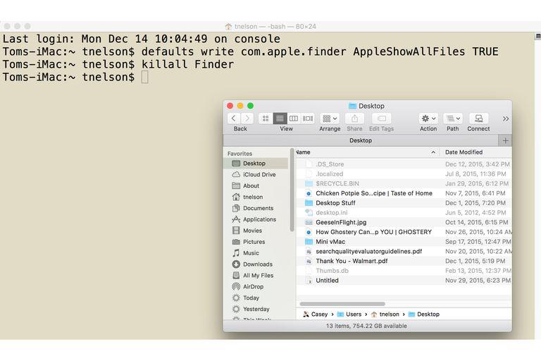 Terminal command to view hidden folders