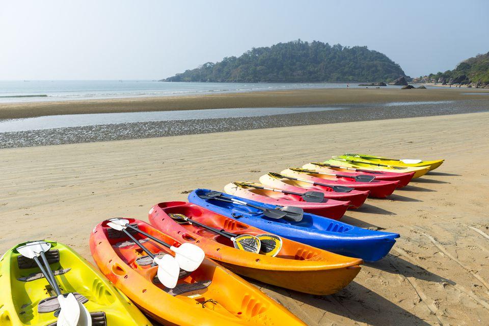 Kayaks on Beach in Goa, Konkan, India