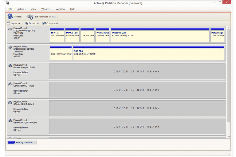 Screenshot of Active@ Partition Manager v6 in Windows 8
