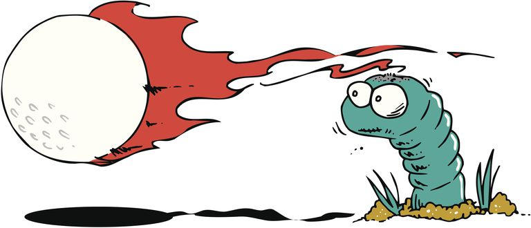 Comical depiction of a wormburner golf shot