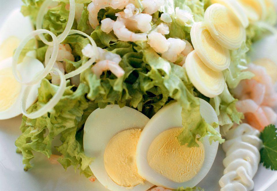Shrimp, Eggs, and Lettuce