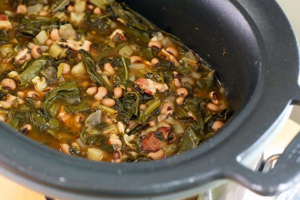 crock pot black-eyed peas and collard greens