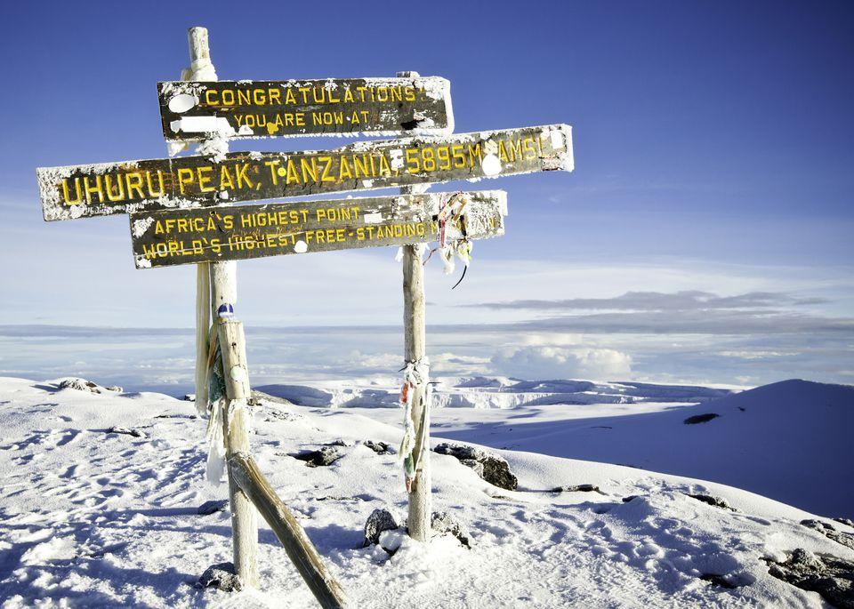 The signpost at the summit of Uhuru Peak, Kilimanjaro