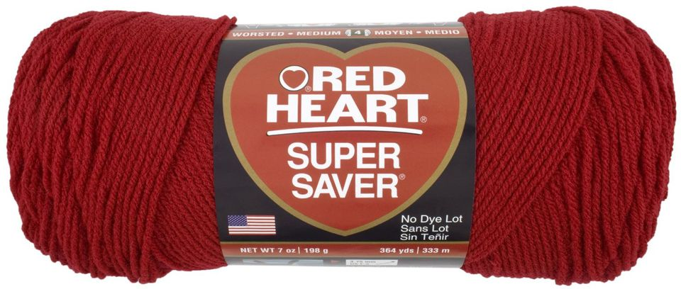 Red Heart Super Saver yarn in red