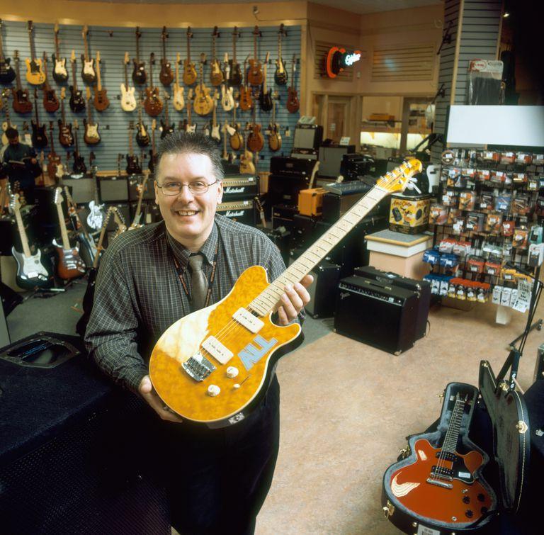 Man in Guitar Store, Regina, Saskatchewan