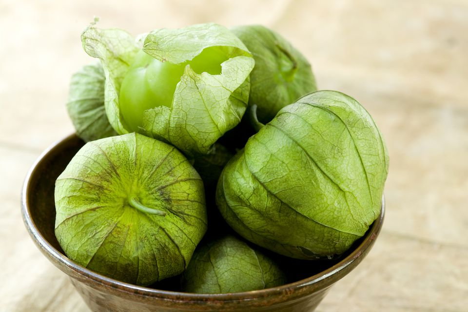 Fresh Tomatillos In a Bowl