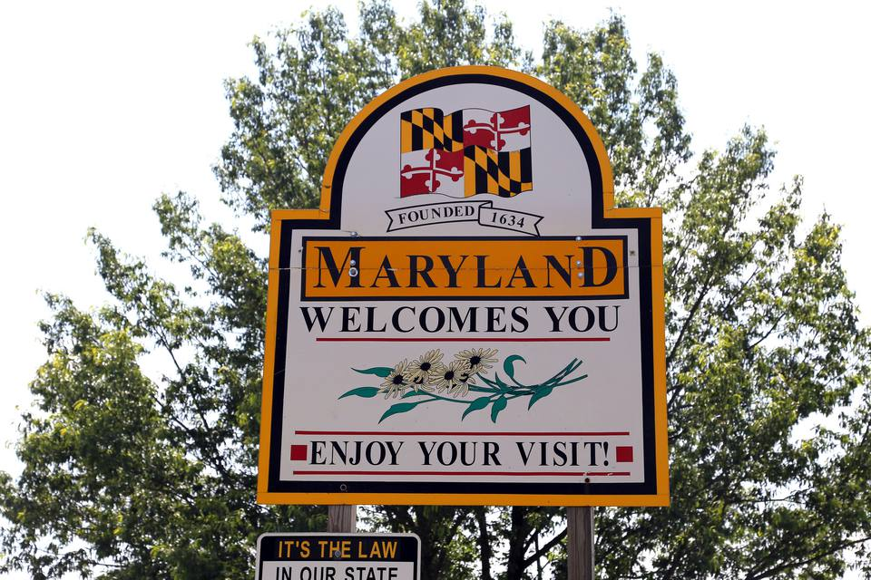"""Maryland Welcomes You"" at the Maryland-Pennsylvania Border"