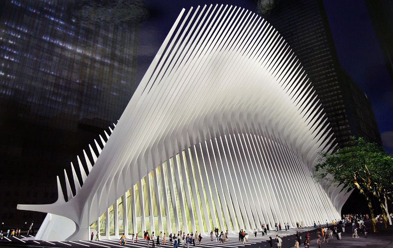 White, spiny 2005 design rendering of WTC site transportation oculus by Santiago Calatrava
