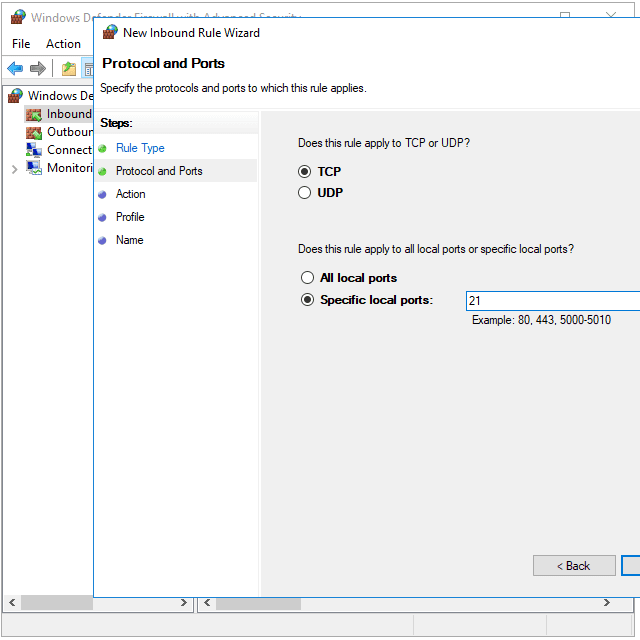 Screenshot showing how to open port 21 in the Windows Firewall in Windows 10