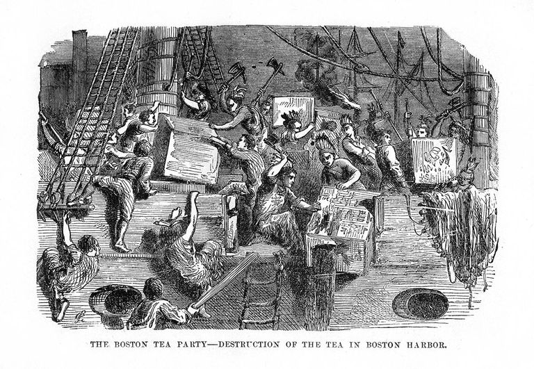 The Boston Tea Party,16 December 1773, (1872). The Boston Tea Party was a protest by the American colonists against Great Britain in which they destroyed many crates of tea on ships in Boston Harbour. The incident, which took place on Thursday, December 16, 1773, has been seen as helping to spark the American Revolution.