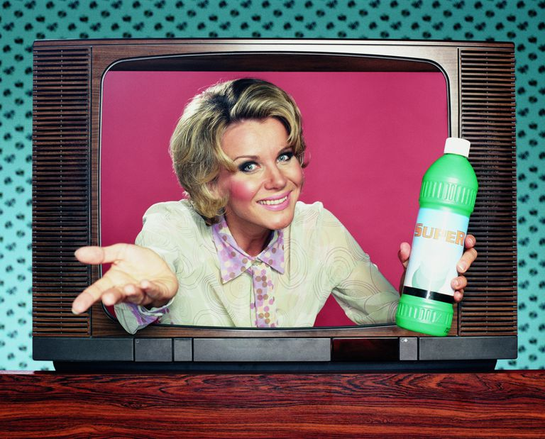 woman coming out television in sales informercial