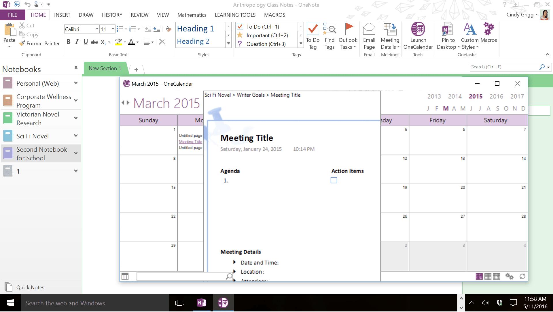 one note calendar