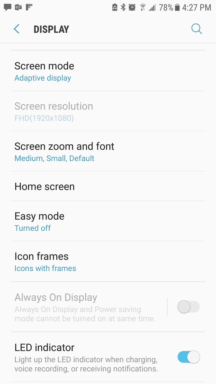 Samsung menu screen with sub-menu under Display